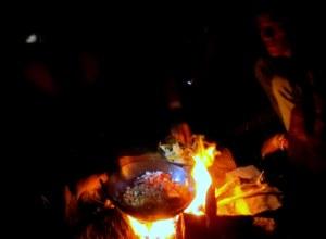 cooking at bonfire